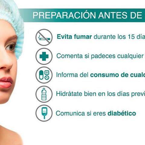 Estas son algunas de las recomendaciones que debes seguir antes de realizarte cualquier intervención. . . . #cirugia #belleza #icifacial #clinica #madrid #nofumar #hidratacion #cirugías  #infografia #infographic #followus