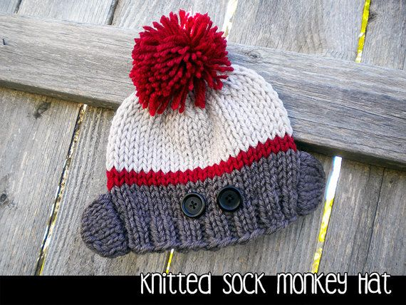 Knitted Sock Monkey Hat for the Family Knitting Pattern Sock monkey hat, Mo...