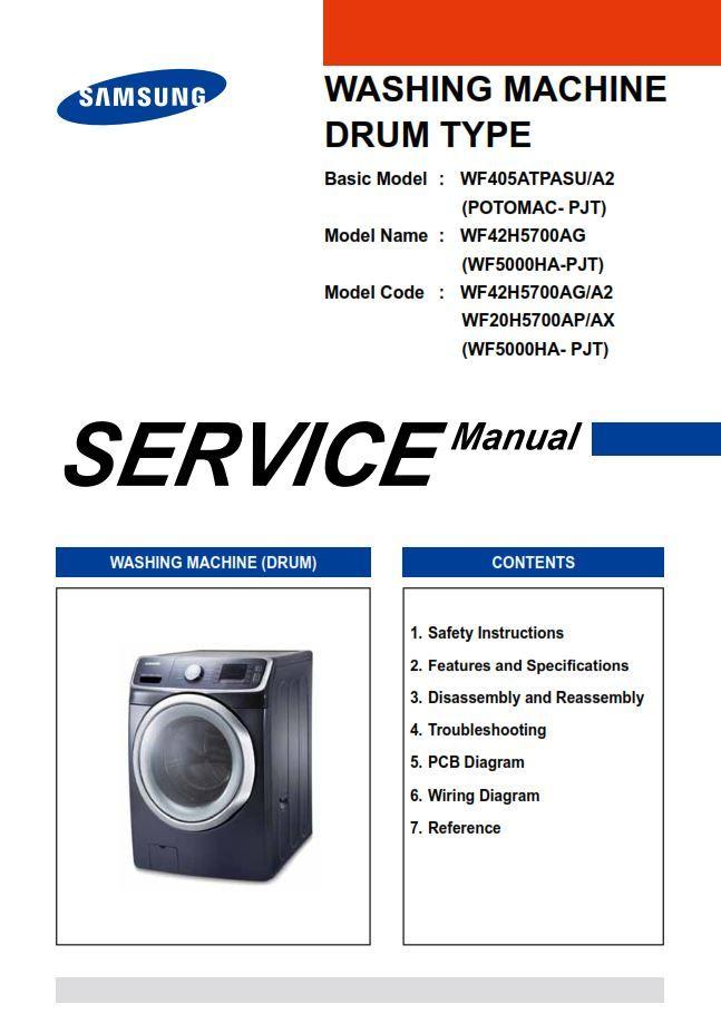 Samsung Wf42h5700ag Wf20h5700ap Washer Service Manual Washing Machine Service Samsung Samsung Washer