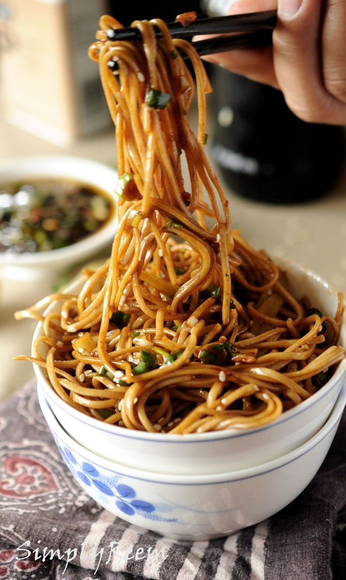 soba noodles with sweet ginger scallion sauce...yummy! I bought 10 pounds of soba noodles at Costco, so this is a useful idea.