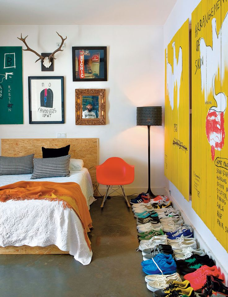 A stylish mix of modern furniture and rustic finds with splashes of bold colors.