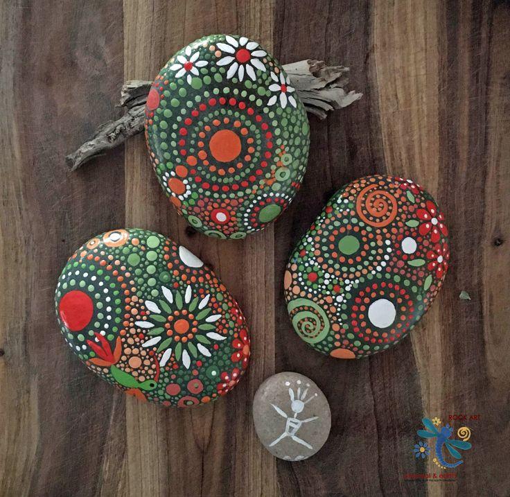 GARDEN ART - Rock Art - Unique Gift - Natural Home Decor - Mandala Inspired Design - FREE US SHIPPING - Nature Art - ethereal & earth