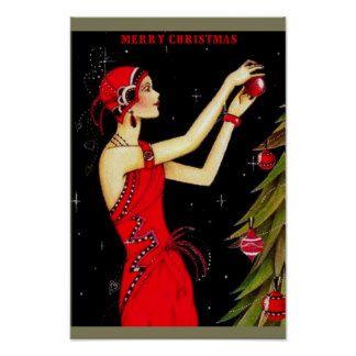 Beautiful Art Deco Christmas Poster 115 X 16 Xmas