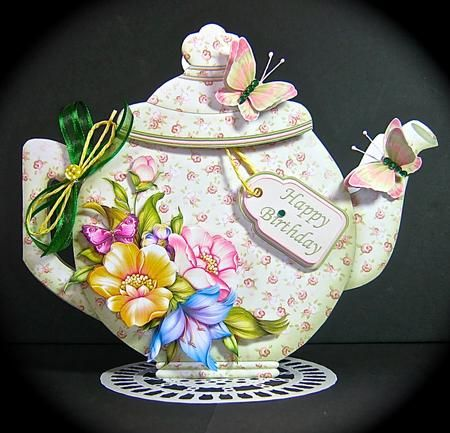 TEAPOT SHAPE CARD Green Peach Floral Decoupage Card Kit on Craftsuprint designed by Janet Briggs - made by Cynthia Massey