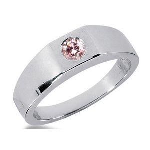 Herren Diamantring mit einem 0.25 Karat pink Diamanten. Ein Diamantring aus der Kollektion Pink von www.pearlgem.de