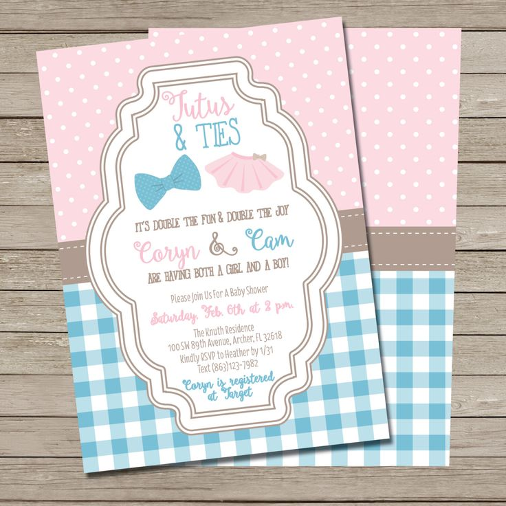 Tutus and Ties Baby Shower Invitation - PRINTABLE Boy and Girl Twins Baby Shower Invite by SBWDesignStudio on Etsy https://www.etsy.com/listing/268282217/tutus-and-ties-baby-shower-invitation