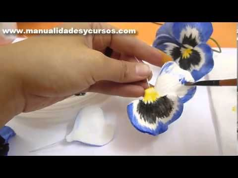 ▶ Como pintar un pensamiento en goma eva paso a paso/how to paint eva foam pansy flower - YouTube