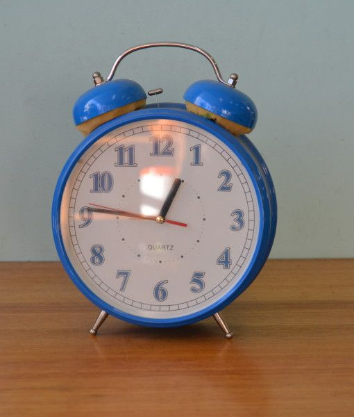 Vintage Large Alarm Clock metal blue