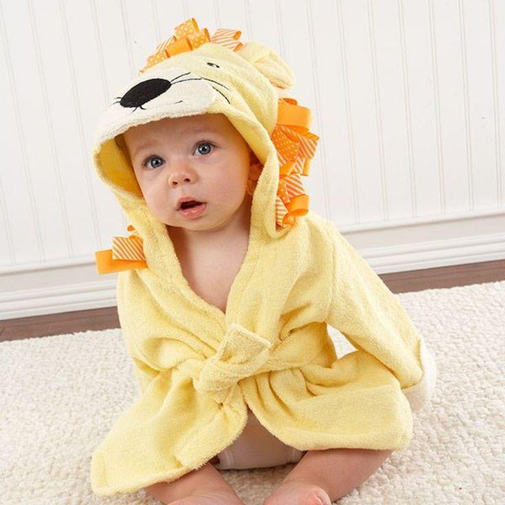 Peignoir bébé 100% coton lion.