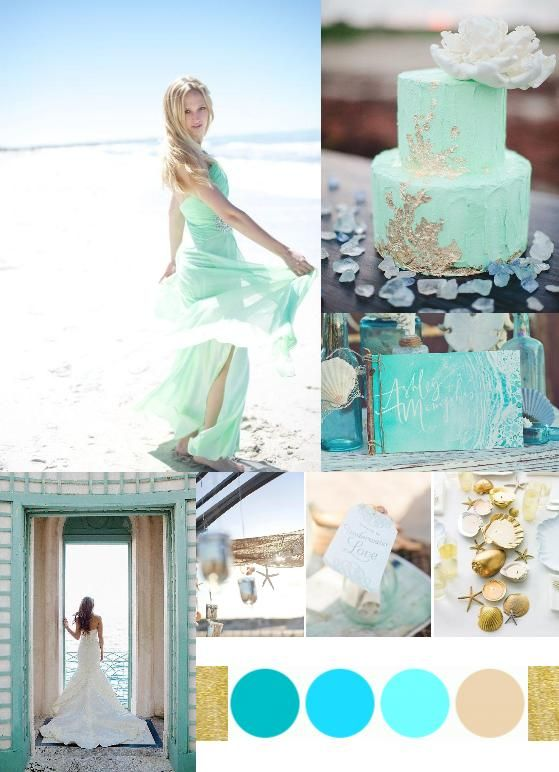 Mint & Gold Beach Wedding Palette via http://www.weddingcolors.net/beach-wedding-paletteeasy-breezy-mint-blues.html