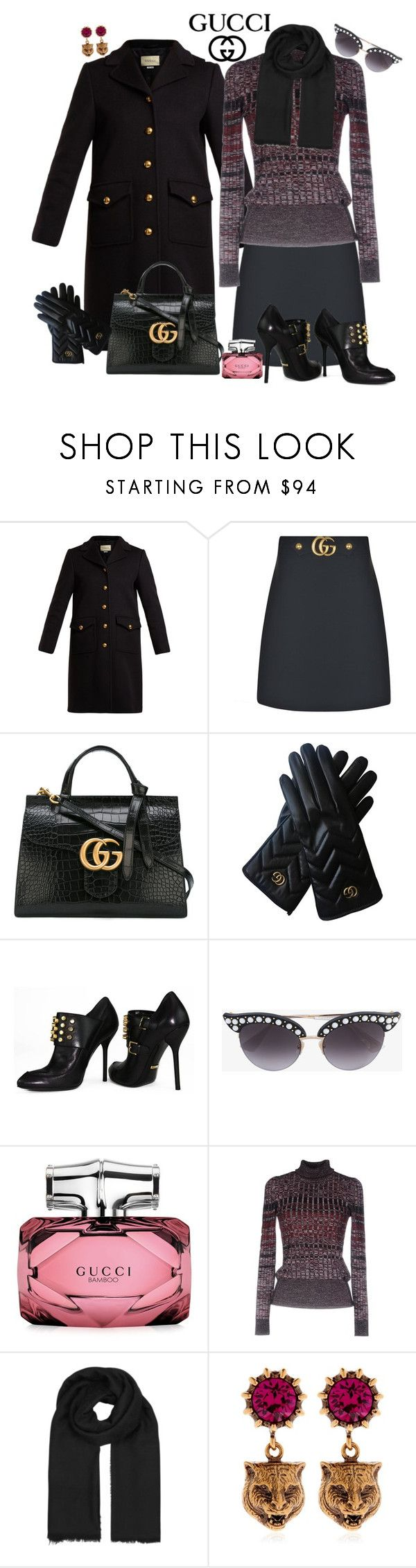 """Gucci Wool Skirt and Scarf"" by dobesht ❤ liked on Polyvore featuring Gucci and winterscarf"