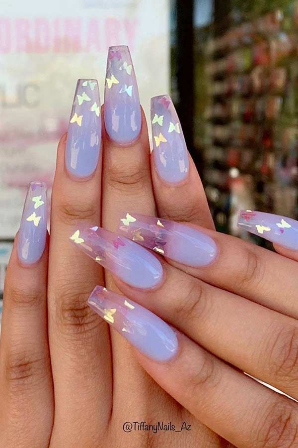 Pictures Of Cute Nails : pictures, nails, Sparkly, Butterfly, Coffin, Nails, Purple, Acrylic, Nails,, Lavender, Summer