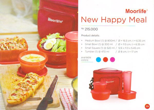 Moorlife New Happy Meal Rp. 215.000,- 1 set terdiri dari 4 pcs wadah plastik (1 small bowl, 1 square, 1 medium bowl, 1 tumbler dan 1 tas slempang)