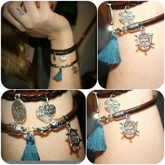 #pulseiras #pompom #azul #marinheiro #cabedal #woman #feitoamao Visita a nossa página no facebook 💍 Artesnarte