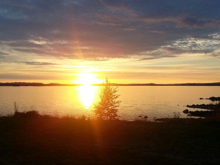Solnedgång vid Siljans strand