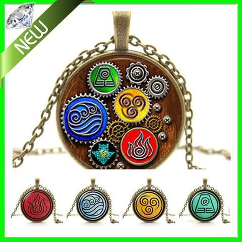 Fire Last Airbender Fire Nation Earth Kingdom Air Nomad Airbender Water Tribe sea wave Elements Pendant Necklaces Jewelry - Animetee - 1