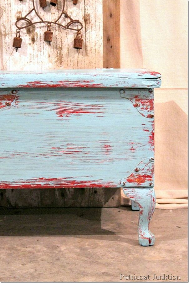 Letu0027s Distress This Chest, With A Wet Cloth. Red Distressed FurniturePainted  ...