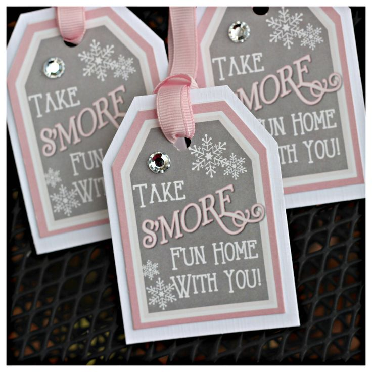Winter Wonderland / ONEderland Birthday party favor tags. S'Mores tags. Set of 18, fully assembled and customizable. Girl / pink / grey. by CharmingTouchParties on Etsy