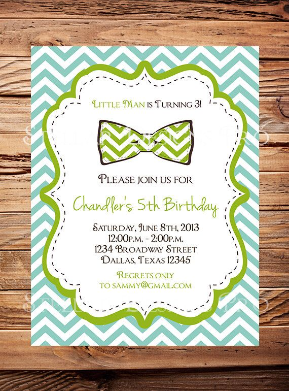 Little Man Birthday Invitation, Birthday Invite. Bow Tie, Chevron Stripes, Yellow, Green, Brown, Blue, Little Man Birthday Party -Y7 by StellarDesignsPro on Etsy https://www.etsy.com/listing/150858483/little-man-birthday-invitation-birthday