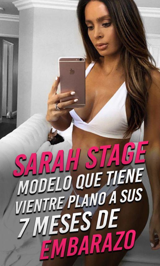 Sarah Stage, modelo que tiene vientre plano a sus 7 meses de embarazo