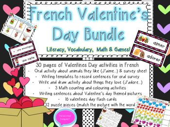 French Valentine's Day- Literacy, Math and Flashcards Bundle