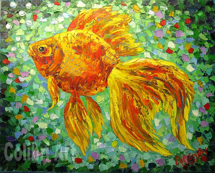 """Author's reproduction (giclee) of Original Handmade Oil Painting """"Three wishes"""" 16"""" x 20"""" on Canvas Impasto by Colibri Art Materials: gallery canvas, oil paints, palette knife  Prints  Giclée  fish  picture goldfish  goldfish  gift girl  gifts for women  orange  green print on the fabric  painting in nursery  author printing"""