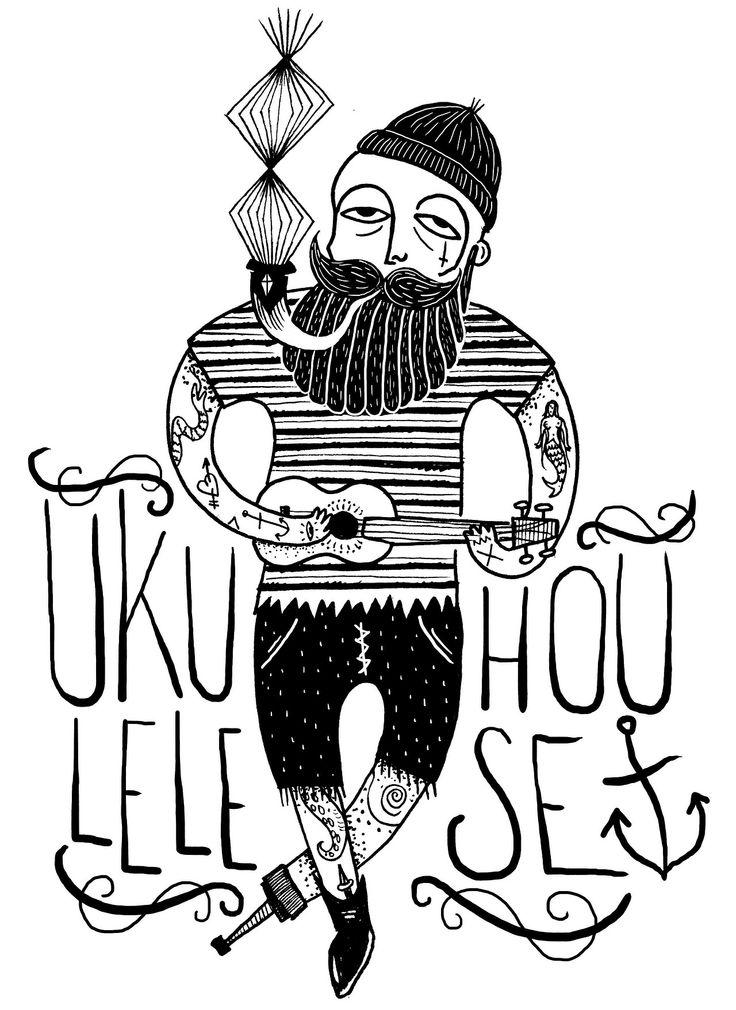 ilustration for a tshirt - ukulele house