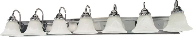"""Ballerina - 7 Light - 48"""" - Vanity - with Alabaster Glass Bell Shades"""