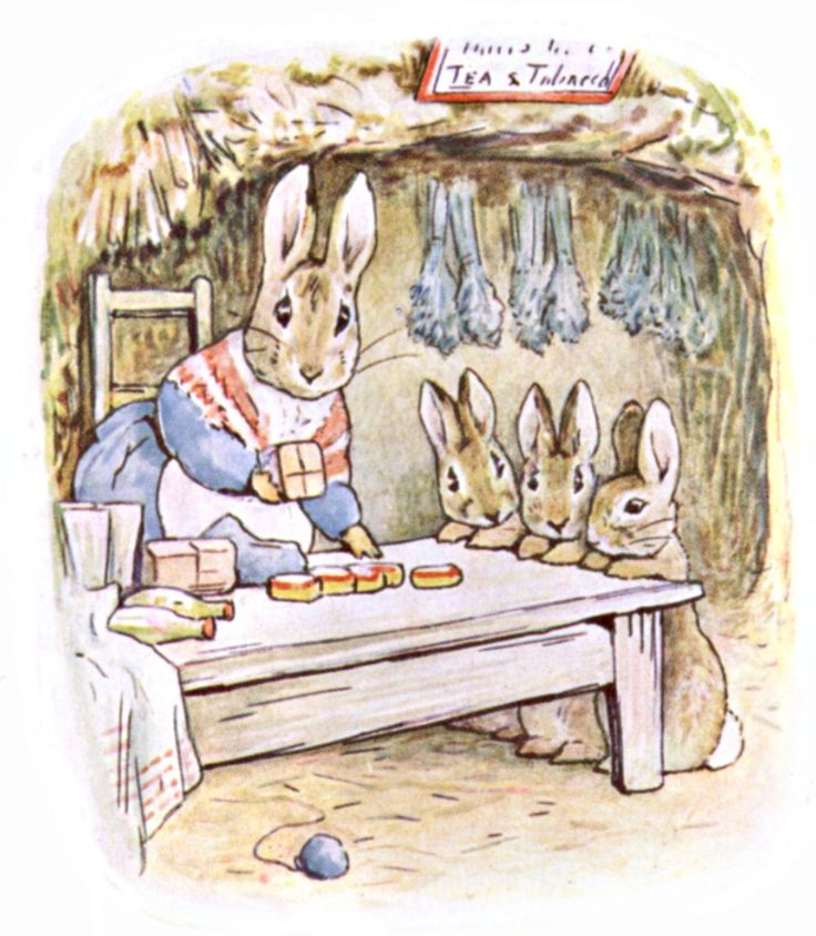 Mrs. Rabbit at her shop with Flopsy, Mospy, and Cotton-tail, from The Tale of Benjamin Bunny  --  1904