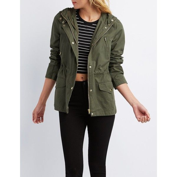 Charlotte Russe Hooded Utility Anorak ($37) ❤ liked on Polyvore featuring outerwear, jackets, olive, hooded jacket, green military jacket, army green jacket, olive jacket and utility jacket