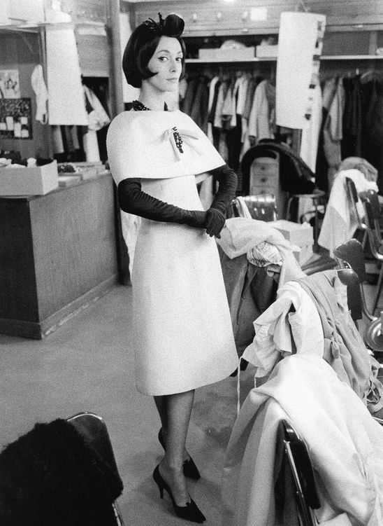 "Kouka in (Yves Saint Laurent) Dior's dress called ""Novia"", Spring/Summer Collection Longue Line 1959, photo by Mark Shaw, atelier Maison Dior, Paris."