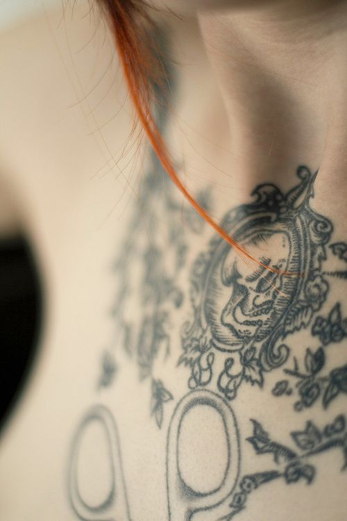Intrigued ... wish we could see the whole tattoo. #skull