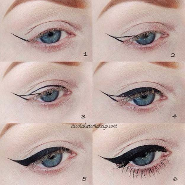 Winged Eyeliner Tutorials - How To Make Winged Eyelids- Easy Step By Step Tutorials For Beginners and Hacks Using Tape and a Spoon, Liquid Liner, Thing Pencil Tricks and Awesome Guides for Hooded Eyes - Short Video Tutorial for Perfect Simple Dramatic Looks - thegoddess.com/winged-eyeliner-tutorials