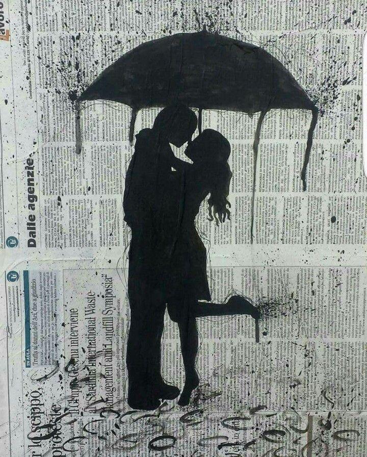 Love Acrilico su tela con Giornale 50cmx40cm 2015 byDaniele Fratini