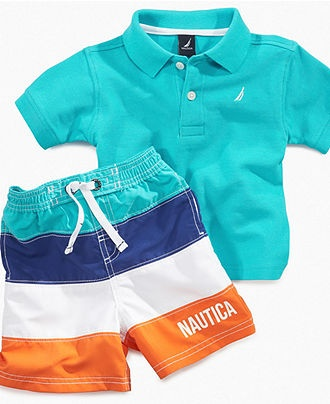 Nautica Baby Set, Baby Boys Polo and Striped Swim Trunks.... ADORABLE!!