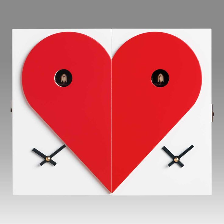 'loveme loveyou' dual left / right contemporary cuckoo clocks by f.lli consonni