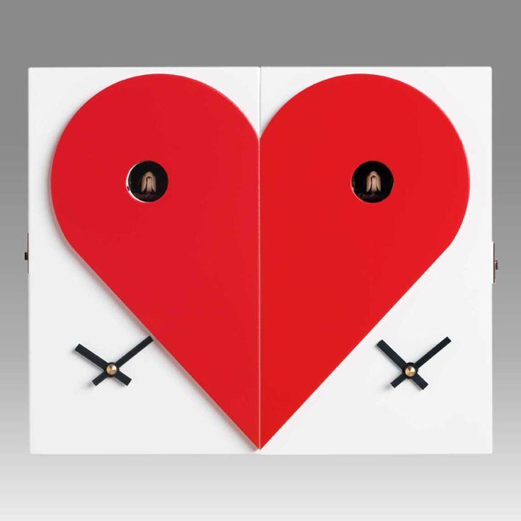 'loveme loveyou' dual left / right contemporary cuckoo clocks by f.lli consonni