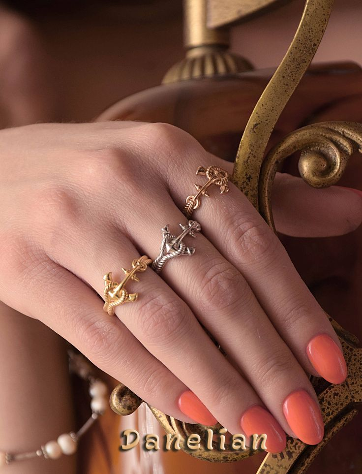 Knot Gold Ring, Anchor Ring, 3D Gold Ring, Knot Engagement Ring, Anchor Knot Ring, Nautical Gold Ring, Nautical Anchor Ring, Alternative engagement ring, Alternative wedding ring, Gold Rose Anchor Ring, Yellow Gold Knot Ring