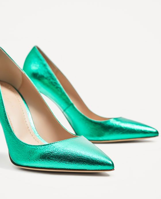 Image 6 of METALLIC GREEN COURT SHOES from Zara