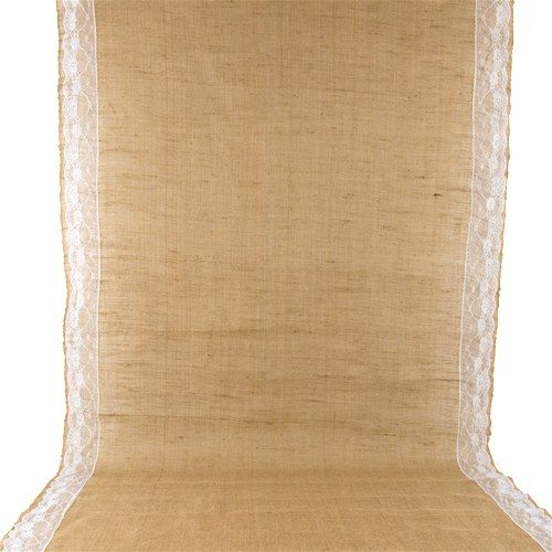 Burlap Aisle Runner with Delicate Lace Borders - Weddingstar