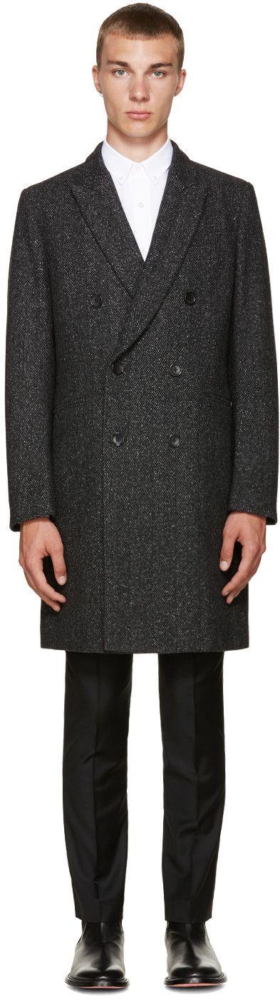 PS BY PAUL SMITH Black Wool Herringbone Coat. #psbypaulsmith #cloth #coat