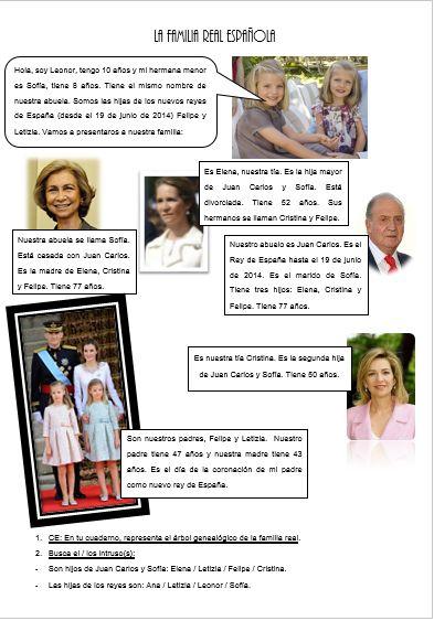 Avec le couronnement du nouveau roi, on doit modifier nos fiches sur la famille royale espagnole. Voici ma nouvelle fiche assez remaniée.  - La familia real espaÑola 2015.docx  - La familia real espaÑola 2015.pdf