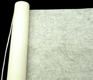Aisle Runner with Lace Pattern - Wedding Decoration<br>75' Ivory Rayon Fabric with Adhesive Strip