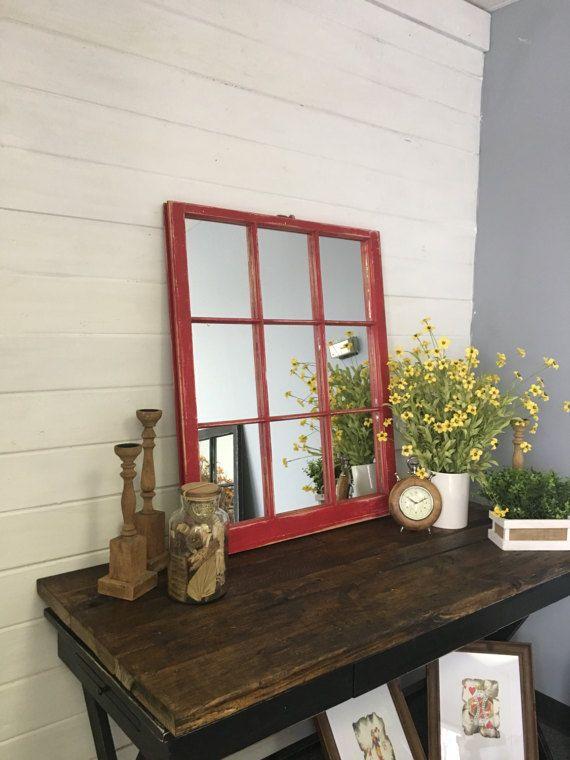 Red Window Mirror, Red Mirror, Window Pane Mirror, Wall