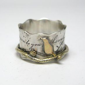 Custom Birds On A Branch Spinner Ring custom made by Janice Art Jewelry