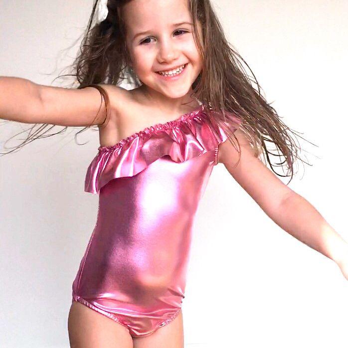 one shoulder swimsuit iridescent pink