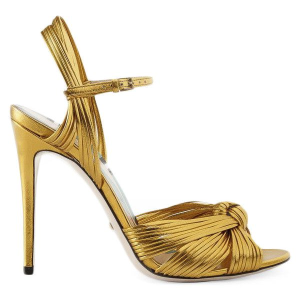 Gucci Metallic Gold Sandal ($795) ❤ liked on Polyvore featuring shoes, sandals, gold, leather high heel shoes, heeled sandals, high heeled footwear, thin strap sandals and spiked heel shoes