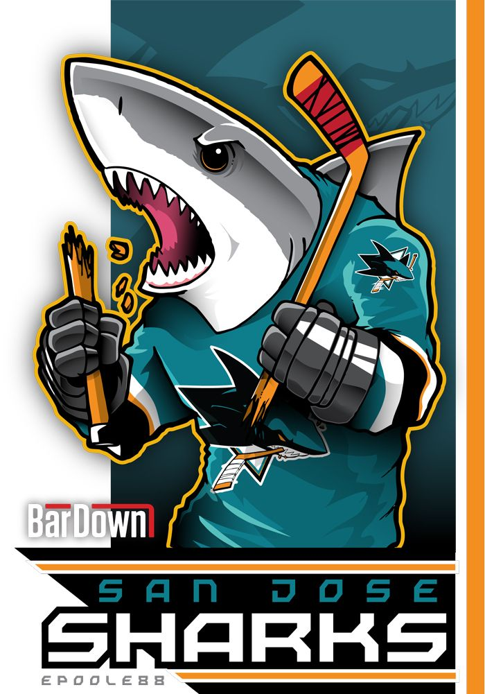 Our good friend #EPoole88 (Eric Poole) is getting ready for the upcoming season with cartoon renderings of each team. This is the San Jose Sharks. #TSN #BarDown