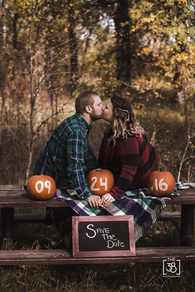 The 38 Photography, Calgary wedding photographer, Calgary wedding and engagement photography, fall engagement session, kiss, couple, love, Inglewood, pumpkins, Save The Date