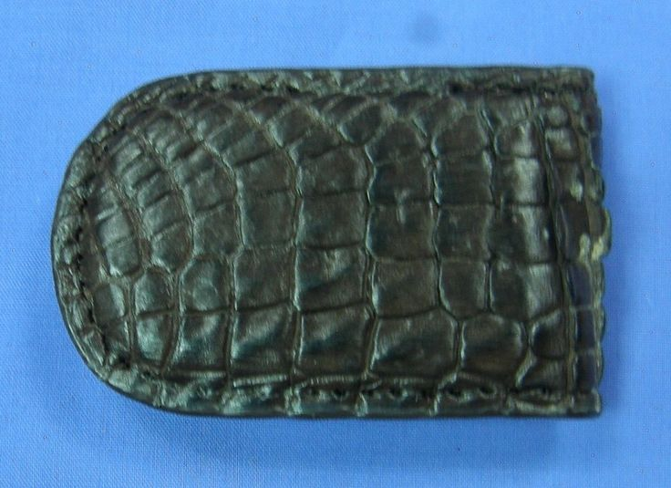 New Brown Genuine Crocodile Alligator Leather Money Clip Magnetic Closure #C020 #Handmade
